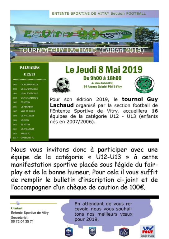 36ème édition du Tournoi Guy Lachaud de l'ESV Football